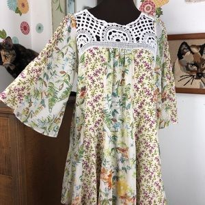 Free People Floral Chiffon Bell Sleeve Blouse XS